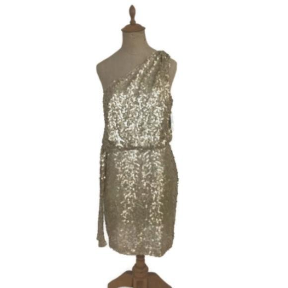 84837f9d15a Aidan Mattox One Shoulder Gold Sequin Party Dress